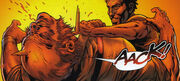 A picture of Wesley stabbing a man through the head.