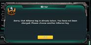 Alliance Tag Error