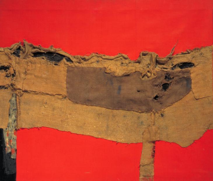 """Alberto Burri's """"Sacking and Red"""""""