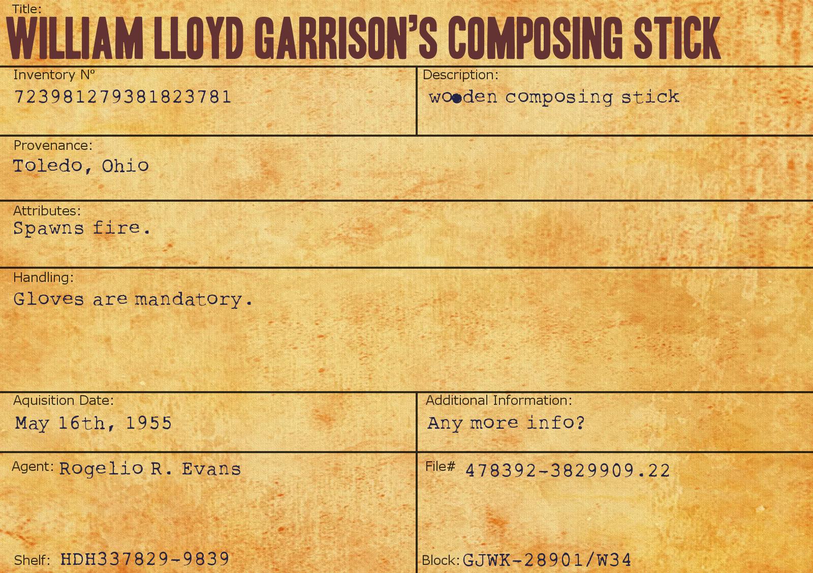 William Lloyd Garrison's Composing Stick