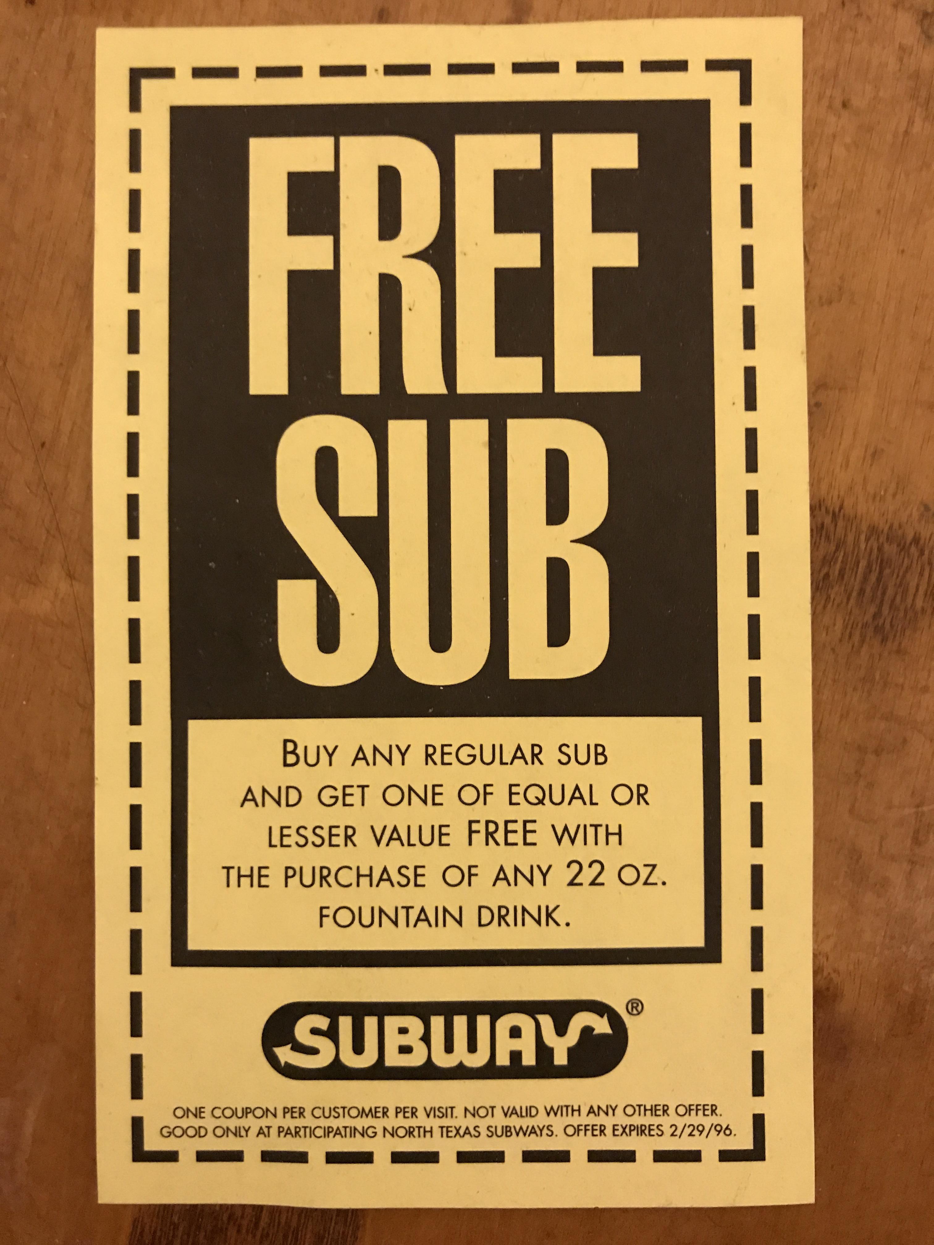 Original Subway Coupon