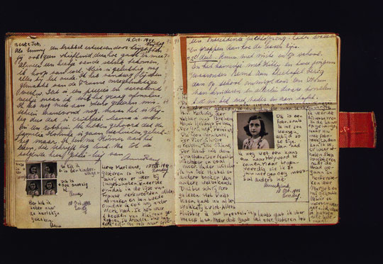 Anne Frank's Diary and Ribbon Bookmark