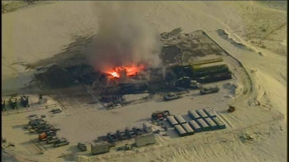 Charred Crane from Greene County Oil Well Fire