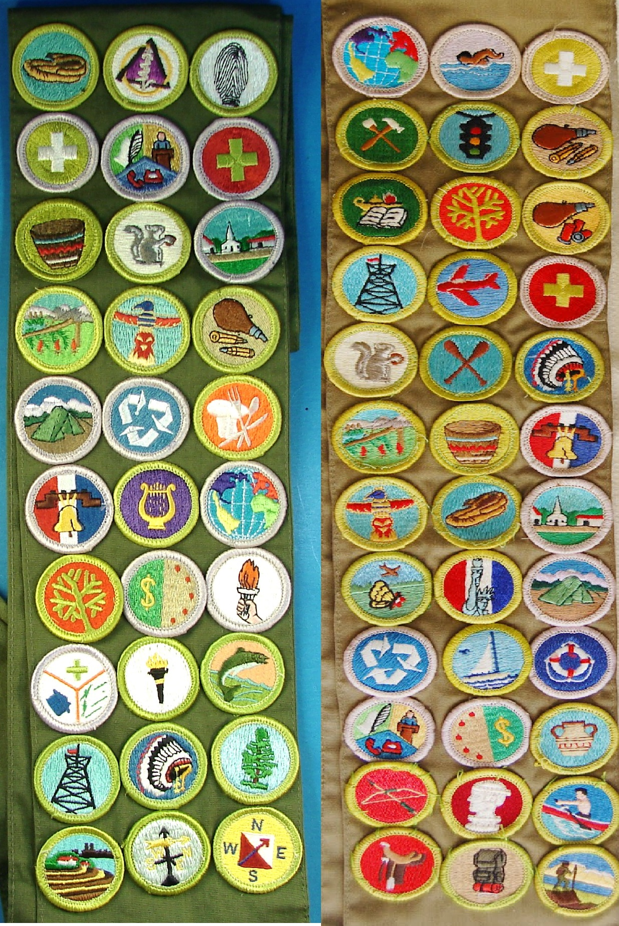 Merit Badge Sashes from Boy and Girl Scouts of America
