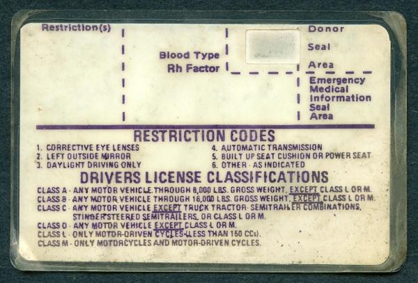 Carl McCunn's Driver License