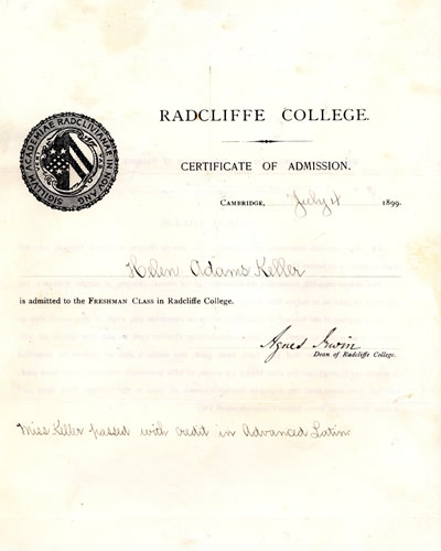 Helen Keller's College Diploma