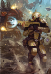Fire warrior in battle with orcs 2.png
