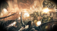 Imperial Fists Battling Tyranids