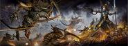 Eldar fighting the tyranids