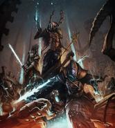 Эльдарские колдуны в бою с тиранидами