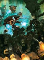 Warp Spinders flank Orks