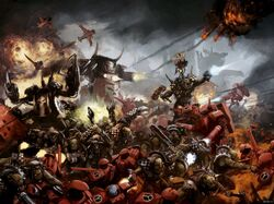 Warriors of Fire from the Enclaves of Farsight Fighting Orcs.jpg
