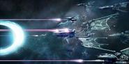 Eldar ships in void battle