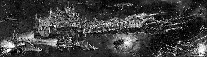 Space Marine Battle Barge and escorts.jpg