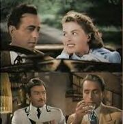 Two color film screenshots, one stacked on top of the other. The top image shows a man and woman in a car, the man driving. The bottom screenshot has two men, one watching as the other drinks from a glass.