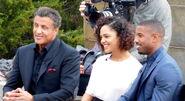Sylvester Stallone, Tessa Thompson, and Michael B. Jordan promoting Creed at the Philadelphia Art Museum