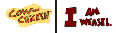 Cow and chicken and I am weasel logo.png