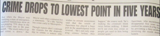 CRIME DROPS TO LOWEST POINT IN FIVE YEARS
