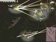 Tripods using Heat Rays on Ironclad Battleships.
