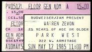 1985-05-12-Warren-Zevon-Chicago-Ticket-Stub