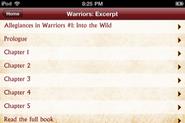 Warriors App.Into the Wild.Kapitelverzeichnis