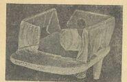 Глиняна модель житла з розкопів на поселенні в с. Володимирівці (1936 р.). Вигляд спереду (1) вигляд збоку (2) (1-3 н. в.).