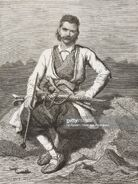 Portrait of Montenegrin man with his weapons on the mountains, Montenegro, life drawing by Theodore Valerio (1819-1879), from Montenegro, by Charles Yriarte (1832-1898)