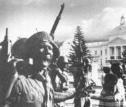 Tonton Macoute demonstration supporting Duvalier on Jan. 31, 1986.