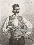 Montenegrin man originally from the Herzegovinian border region, Montenegro, life drawing by Theodore Valerio (1819-1879), from Montenegro, by Charles Yriarte (1832-1898)