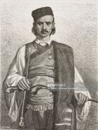 Man originally from the area around Cetinje, Montenegro, life drawing by Theodore Valerio (1819-1879), from Montenegro, by Charles Yriarte (1832-1898)