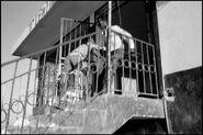 Тотнтон без униформы бросает мародера с дестницы, 1986