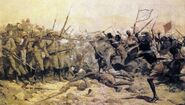 William Barnes Wollen Battle of Abu Klea 17 Jan 1885 captures the moment when the Mahdist surged through the left rear corner of the British Square