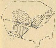 Реконструкція глиняної моделі житла з розкопів на поселенні в уроч. Коломийщина II (1939 р.). Житло № 5.