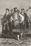 Guards of the Prince of Montenegro Nikola I Petrovic-Njegos, life drawing by Theodore Valerio (1819-1879), from Montenegro, by Charles Yriarte (1832-1898)