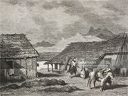 Village near Cottigne, Montenegro, life drawing by Theodore Valerio (1819-1879), from Montenegro, by Charles Yriarte (1832-1898)