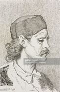 Man originally from Grahovatz, Montenegro, life drawing by Theodore Valerio (1819-1879), from the tour of the world, based on Montenegro, by Charles Yriarte (1832-1898)