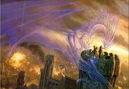 Люди, башня, дракон, дух, огонь, город, магия(Ghost-Spirit-Phantom Dragon)