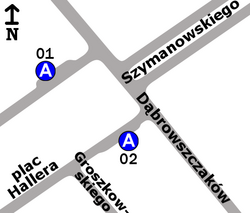 """Schemat rozmieszczenia przystanków w zespole """"Dąbrowszczaków"""" (stan przed likwidacją)"""