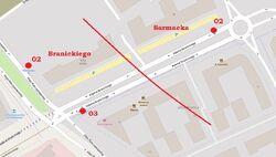 Schemat rozmieszczenia przystanków w zespole Branickiego, © autorzy OpenStreetMap, zobacz opis