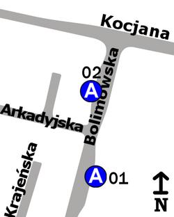 Schemat rozmieszczenia przystanków w zespole Arkadyjska