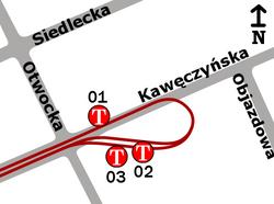Schemat rozmieszczenia przystanków w zespole Kawęczyńska-Bazylika