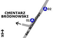 Schemat rozmieszczenia przystanków w zespole Cmentarz Bródnowski