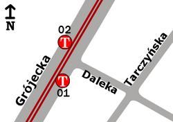 Schemat rozmieszczenia przystanków w zespole Ochota-Ratusz