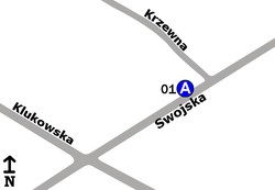 """Schemat rozmieszczenia przystanków w zespole """"Krzewna"""""""