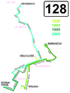 Trasy linii 128 w wybranych latach