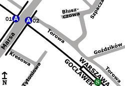 Schemat rozmieszczenia przystanków w zespole PKP Gocławek