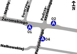 Schemat rozmieszczenia przystanków w zespole Perzyńskiego