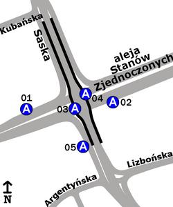 Schemat rozmieszczenia przystanków w zespole Saska