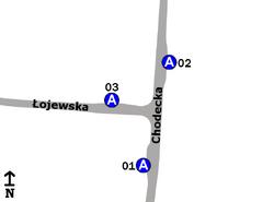 Schemat rozmieszczenia przystanków w zespole Łojewska