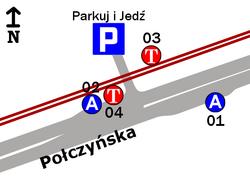 Schemat rozmieszczenia przystanków w zespole Połczyńska Parking P+R